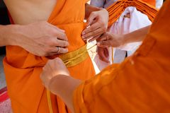 Newly ordained Buddhist monk pray with priest procession. In Thailand Royalty Free Stock Image