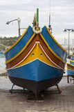 Luzzu in Marsaxlokk stock photo