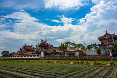 Newly planted farmland and Chinese style rooftops of the old Huwei Chifa Matsu Temple in Yunlin County, Taiwan Royalty Free Stock Image
