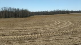 Newly planted field on beautiful April day Stock Photos