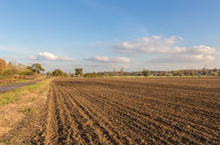 Newly ploughed field in the Essex countryside on a bright day. Took this shot looking down a newly ploughed field on a bright November day.  Blue sky and wispy Stock Image