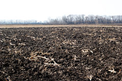 Newly plowed field ready for new crops Stock Photo