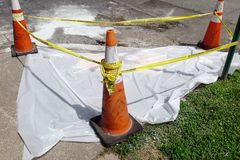 Newly Poured Cement Curing Under Plastic Tarp Royalty Free Stock Images