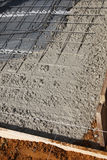 Newly poured cement floor and foundation Royalty Free Stock Images