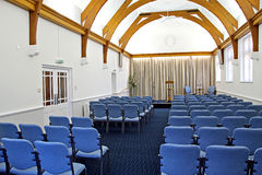 Newly refurbished auditorium. Photo of a newly refurbished auditorium showing original architecture of victorian roof beams Royalty Free Stock Image