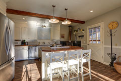 Newly renovated Kitchen boasts wood beams on ceiling Royalty Free Stock Photos