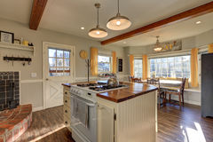 Newly renovated Kitchen boasts wood beams on ceiling Royalty Free Stock Image