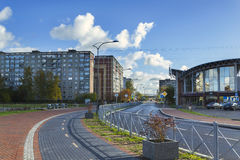 Newly renovated street. KALININGRAD, RUSSIA - OCTOBER 29, 2016: the newly renovated street in the island of October, which leads to the stadium world Cup 2018 Royalty Free Stock Photo