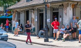 Newly reopened Lafitte`s Blacksmith Shop Bar in French Quarter during Corona Virus pandemic