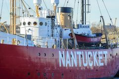 Newly repainted Nantucket Lightship. New Bedford, Massachusetts, USA - December 21, 2017: Newly repainted Nantucket Lightship docked in New Bedford harbor Stock Images