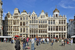 Newly restored facades from the Grand Place in Brussels Stock Images