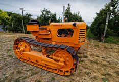 Newly restored Oliver OC-4 caterpillar tractor stock image