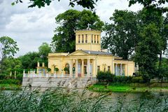 Newly restored Tsarina's Pavilion in Peterhof Upper Garden Stock Photos