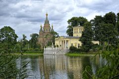 Newly restored Tsarina's Pavilion in Peterhof Upper Garden Royalty Free Stock Image