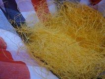 Newly Silk thread from cocoon stock photos