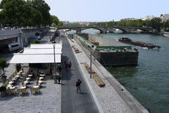 Newly transformed riverbanks of the Seine Royalty Free Stock Photo