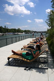 Newly transformed riverbanks of the Seine Stock Images