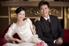 Newly wed couple 18. Newly wed sweet asian couple Stock Photos