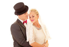 Newly wed couple. Beautiful newly wed couple in loving embrace royalty free stock photo