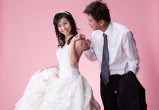 Newly wed couple 3. Newly wed sweet asian couple Royalty Free Stock Photography