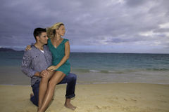 Newly wed couple on the beach Royalty Free Stock Photo