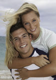 Newly wed couple on the beach Stock Image