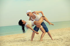 Newly wed couple dancing Stock Photos