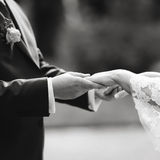 Newly wed couple holding hands, groom and bride. Stock Photography