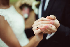 Newly wed couple's hands with wedding rings. Closeup newly weds show their wedding rings while dancing Stock Photography