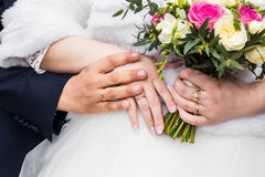 Newly wed couple`s hands with wedding rings. Photo of Newly wed couple`s hands with wedding rings Royalty Free Stock Images