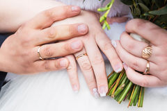 Newly wed couple`s hands with wedding rings. Photo of Newly wed couple`s hands with wedding rings Royalty Free Stock Photography