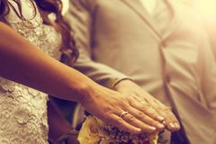 Newly wed couple`s hands with wedding rings. Vintage tone. Newly wed couple`s hands with wedding rings Stock Photos