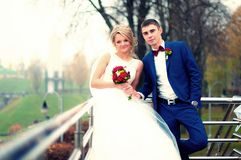 Newly Wed Couple Standing Beside Railing Near Bare Tree Stock Photos