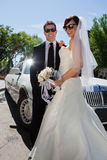 Newly wed couple in sunglasses Royalty Free Stock Images