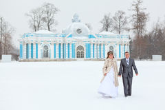Newly wed couple in winter season Royalty Free Stock Photography