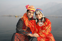 Newly Wed North Indian Pathani Couple. Newly wed North Indian (Kashmiri couple) in traditional clothing Stock Photo