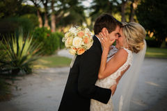 Newly Wedd. A newly wedd couple on a beach royalty free stock photography