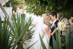 Newly Wedd. A newly wedd couple on a beach stock photography