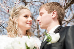 Newly wedded couple on open air Royalty Free Stock Photos