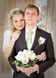 Newly wedded couple in the park Stock Photo