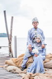 Newly wedded couple posing Royalty Free Stock Image
