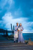 Newly wedded couple posing Royalty Free Stock Photography