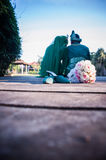 Newly wedded couple posing Royalty Free Stock Images