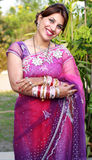Newly wedded girl. Indian newly wedded girl in happy mood royalty free stock images