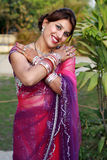 Newly wedded girl. Indian newly wedded girl in happy mood stock photos