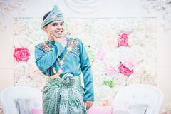 Newly wedded groom posing Stock Image