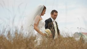 Newly Weds In A Field stock video footage