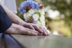 Newly weds holding hands Stock Photography