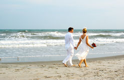 Newly weds near the ocean Royalty Free Stock Image