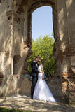 Newly weds posing at an architectural site Stock Image